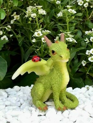 Miniature Dollhouse FAIRY GARDEN Figurine ~ Mini Green Dragon with Ladybug NEW