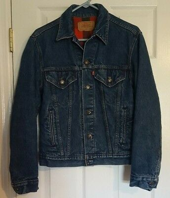 Vtg LEVIS 80's DENIM JACKET Flannel Plaid Lined Trucker Size 38 MENS SMALL