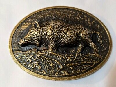 ♈ Raised Graphics Antique Bronze finish Belt Buckle Farm Country BOAR hog hawgs