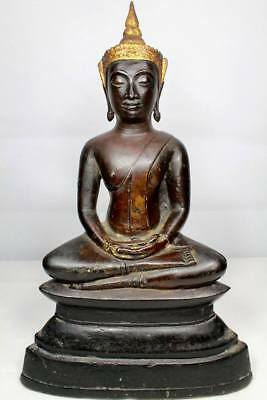 Antique Gilt Bronze Statues Buddha Ayutthaya C15 th Thai Amulets Fortune Rare