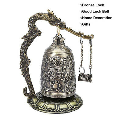 Carved Home Decor Alloy Vintage Good Luck Bell Bronze Lock Buddhist Bell