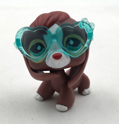 #849 Littlest Pet Shop Brown Red Beagle Dog Green Eyes LPS Glasses Puppy Kid Toy