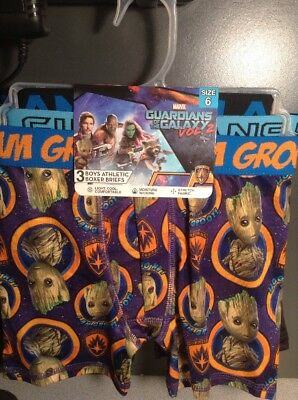 NEW Guardians of the Galaxy 3 Pack Boys Size 6, 8, 10 Athletic Boxer Briefs