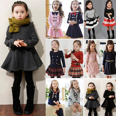 Kids Girls Princess Long Sleeve Tutu Skater Dress Toddler Casual Party Clothes