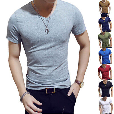 Men Summer T-Shirt Short Sleeve Round Solid Color Tops Gym Fitness Casual Shirt