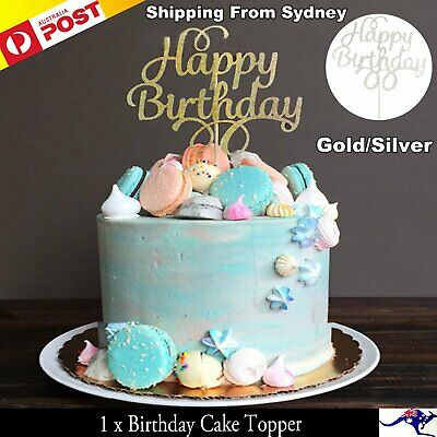 1x Cake Topper Happy Birthday Gold Silver Glitter Party Wedding DIY Decoration