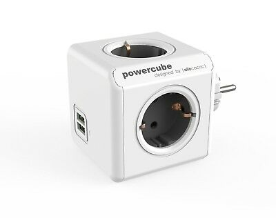 allocacoc PowerCube Duo USB Original Grau, Reiseadapter 4x Steckdose und Verte