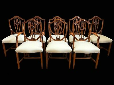 8 Beautiful Prince of Wales Style Ivory colour dining chairs pro French polished