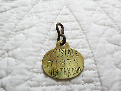 Antique Metal Dog Tax Tag 1918 New York State NY