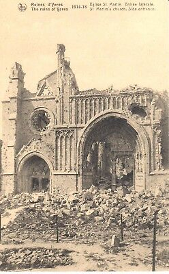 carte postale - Ypres - leper - CPA - Ruines d'Ypres - Eglise Saint-Martin