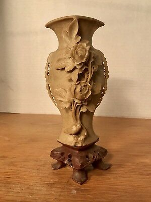 Vtge Asian, Japanese stone or soapstone carved Flower Vase statue - Wow