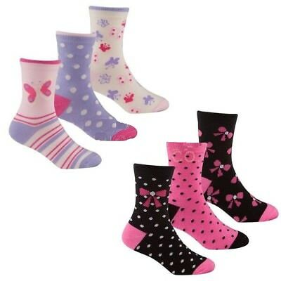 3 Pairs Girls Cotton Rich Socks Butterfly Bow Pink Socks Uk Size 6 - 3.5