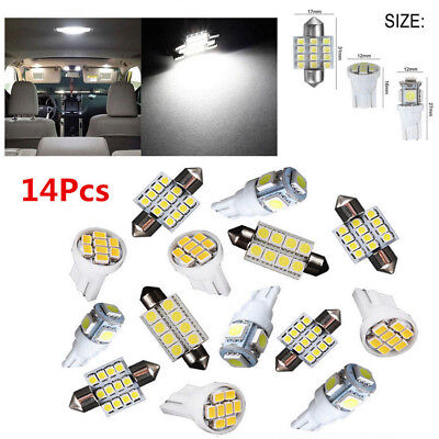 14Pcs LED Interior Package Kit For T10&31mm Map Dome License Plate Lights White