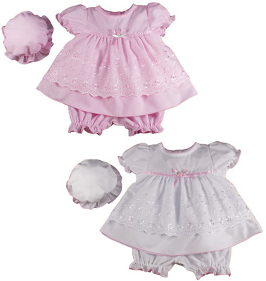 Baby girl dress clothes broderie anglaise bloomers mop cap hat