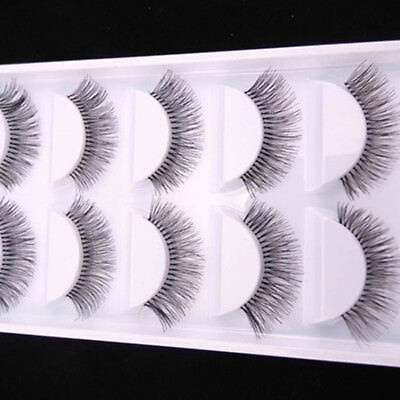 5Pair Natural Sparse Cross Eye Lashes Extension Makeup Long False Eyelashes Fine