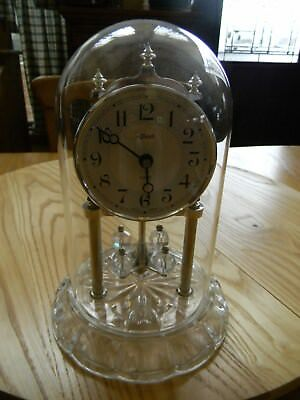 Clock Vintage Hermle W-Germany Anniversary Quartz Movemen-Battery Operated Domed