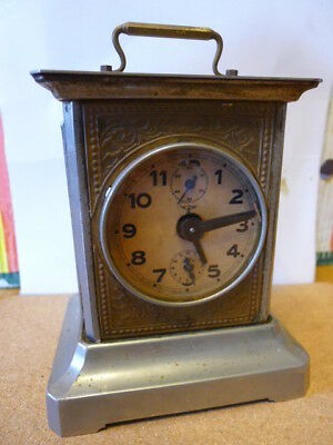 F.R. Mauthe (German C1900)  Carriage Alarm Clock with key....WC...VGC...