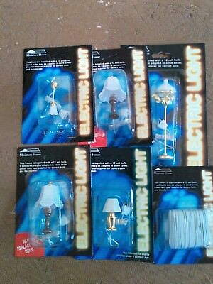 CC lot 5 dollhouse miniatures 12 Volt lights & Free Roll Wire hanging & Floor