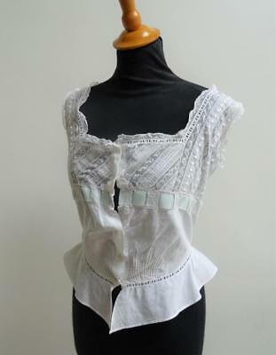 Antique Victorian Ladies Camisole -  Embroidered Whitework Cotton & Lace c1890