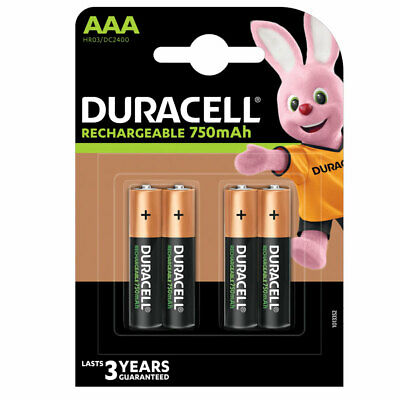 GENUINE DURACELL AAA RECHARGEABLE BATTERIES NiMH 750MAH PRECHARGED HR03 DURALOCK