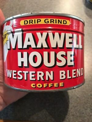 Maxwell House Rare Western Coffee Tin Can Sealed NOS New unopened Key Wind Full