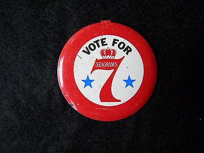 Vintage Vote For Seagrams Pin Seven Red White Blue Metal Button Whiskey Metal !!