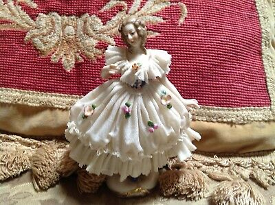 ✨ Antique Dresden Porcelain Lady Woman Figurine Germany Lace German✨