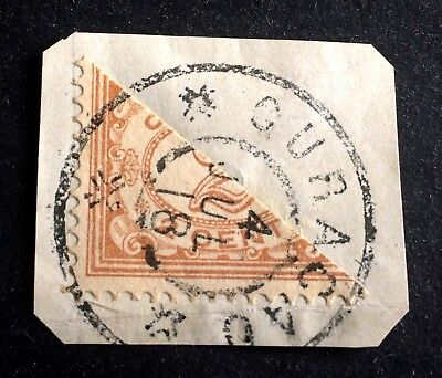 Curacao cut in half before usage 2 Cent July 1918
