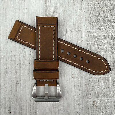 For Panerai Replacement 24mm Thick Brown Leather Watch Strap Band Pre-v Buckle