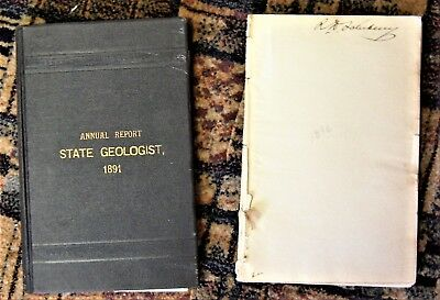 2 geology books with maps 1891 ANNUAL REPORT OF THE STATE GEOLOGIST - NEW JERSEY