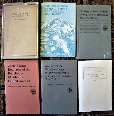 6 geology books with maps B&O RR, California 1933, Mt Rainier, Hidalgo, New York