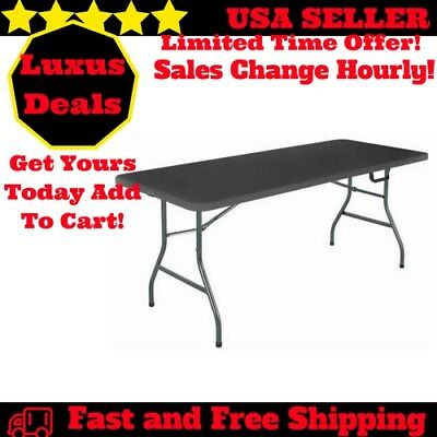 Office Centerfold Folding Table Black 6 Foot Portable Plastic Home Party Tables