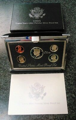 1993-S U.S. Mint Premier Silver Proof Set w/ Mint Box and COA *Low Bid Price*