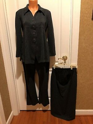 Steena Maternity Gray Ponte Knit 3pc Blazer Pant Skirt Suit Size S EUC
