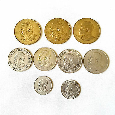 Lot of 9 Kenya Coins Currency 4-1 Shilling 3-10 Cents 2-50 Cents
