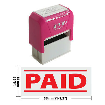 PAID w. 2 lines Self Inking Rubber Stamp - JYP 4911R-02  RED INK