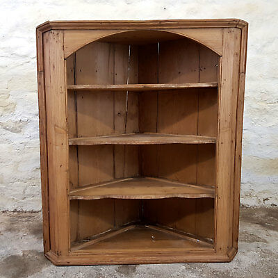 Victorian Stripped Pine Wall Hanging Open Corner Cabinet C19th (Antique Shelves)