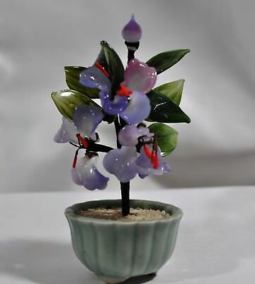 Small Chinese Jade Bonsai Tree Multi-Colored Glass Flowers