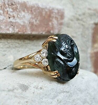 Vintage Carved Black Nephrite Jade and Diamond Ring in Yellow Gold Size 6