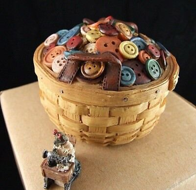 Boyds Longaberger Exclusive Button Treasure Basket- Rare Mib 1E