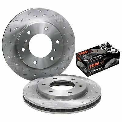 Front Slotted Dimple Drilled Disc Brake Rotors + Pads Triton ML MN 2007 to 2016