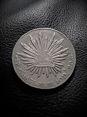 Mexico 1875 Ca MM 8 Reales Silver AU Minted in Chihuahua MX Rare