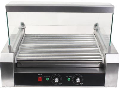 New Commercial 30 Hot Dog 11 Roller Grill Cooker Machine W/ cover CE New