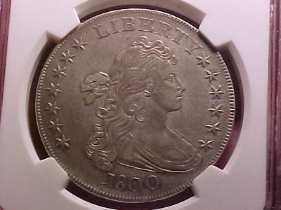 1800 Draped Bust Dollar; NGC certified AU details, improperly cleaned
