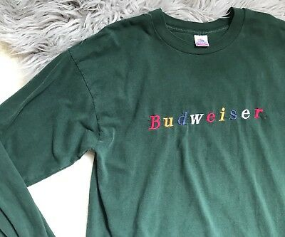 Vintage Budweiser Long sleeve T Shirt Embroidered Spell Out XL 1990's RARE Green
