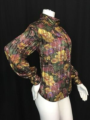 80s VTG Secretary Blouse Floral Lame Puff Sleeves Gold Metallic Polyester 14