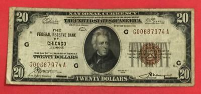1929 $20 Brown Seal National Currency Chicago X974 VG! Old US Paper Currency