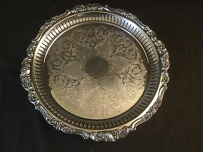 Wallace Baroque Silver Plate Gallery Tray Salver Platter Footed 297