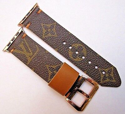 Louis Vuitton Upcycled Handmade Lv Monogram Strap/band For 42 Mm Apple Watch
