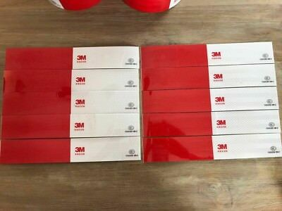 """3M Reflective White/Red Warning Conspicuity Tape STRIP 2"""" X 1FT SCISOR CUT= 10ft"""